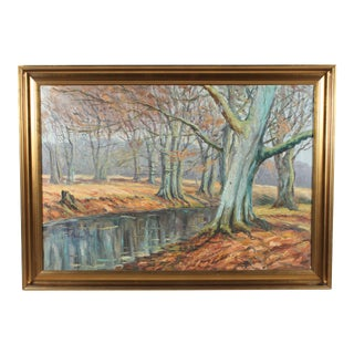 Oil Painting 'Beech Trees by the Stream'