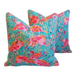 Lilly Pulitzer-Inspired/Style Topical Pink Flamingo Pillows - a Pair