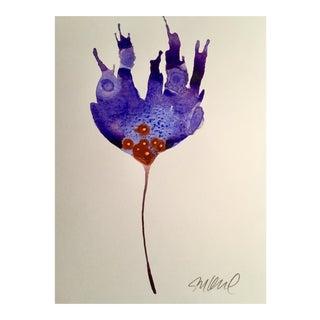 Lavender Rust Botanical Watercolor Painting