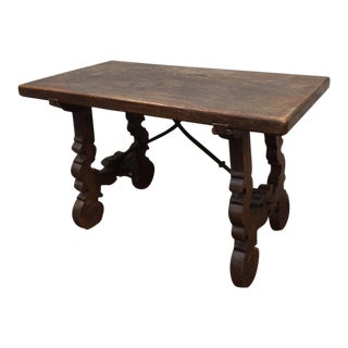 Antique Spanish 19 Century Style Side Table, Oak & Iron, Farmhouse