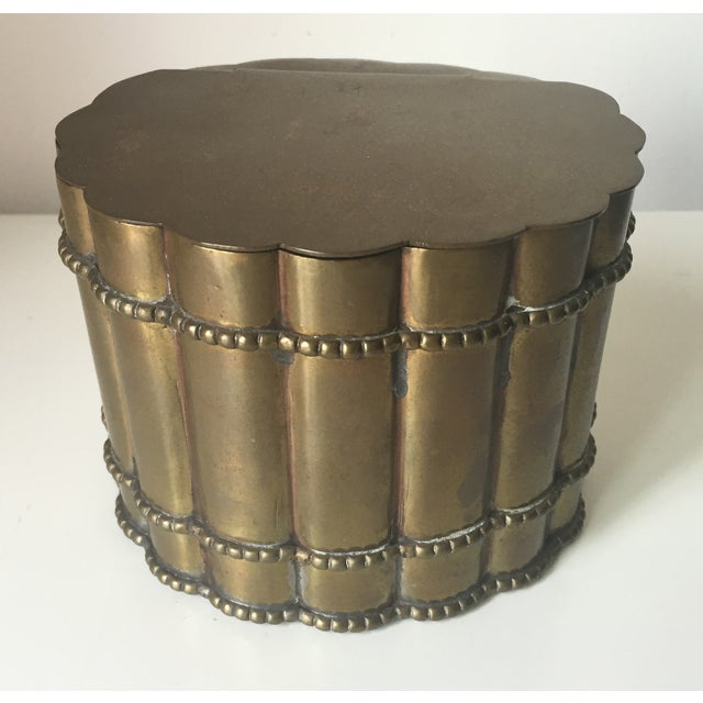 Vintage Brass Faux Bamboo Tea Caddy - Image 2 of 6