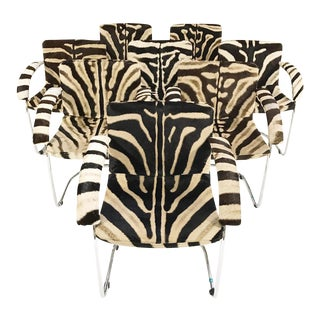Forsyth One of a Kind Giovanni Offredi for Saporiti Lens Chairs in Zebra Hide - Set of 8