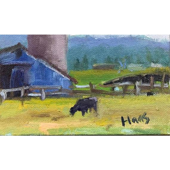 """Petaluma Blue Barn & Cow"" Painting - Image 3 of 11"