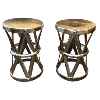 Pair of Tribal Polished Hammered Brass Stools or Side Tables