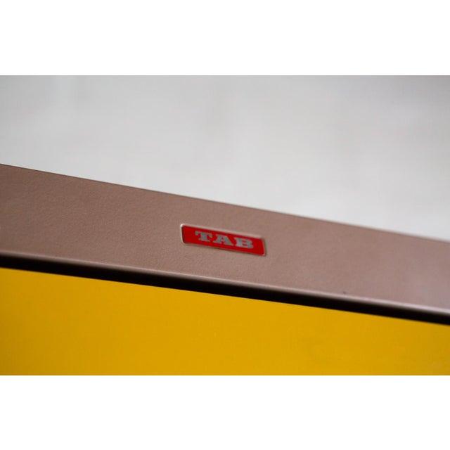 Vintage Orange & Yellow Steel Tab Office Cabinets - Image 4 of 7