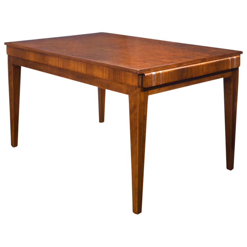 French Art Deco Burled Elm Table