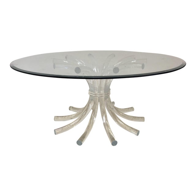 Lucite & Glass Wheat Sheaf Coffee / Cocktail Table - Image 1 of 8