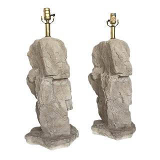 Plaster Faux Rock Lamps - A Pair