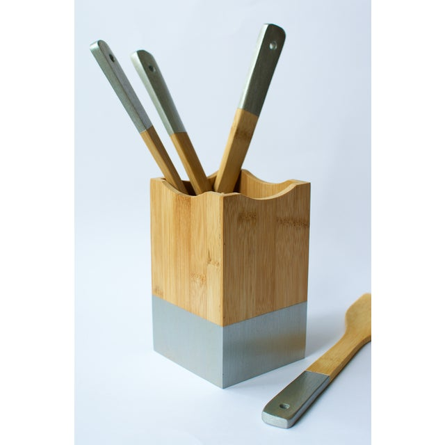 Silver Utensil Set and Holder - Image 2 of 5