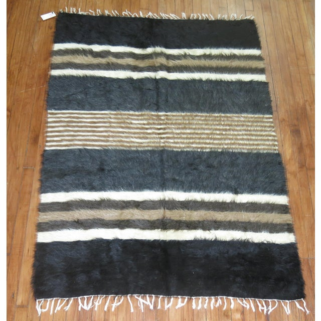 "Vintage Striped Mohair Rug / Throw - 4'4"" x 6' - Image 3 of 6"