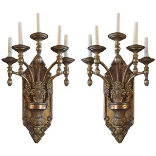 Pair of Bronze Five-Arm Sconces