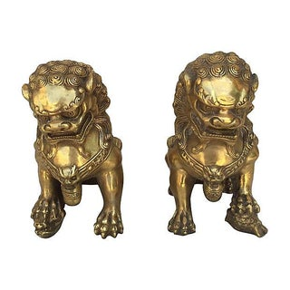 Chinese Brass Foo Dog Statues - A Pair