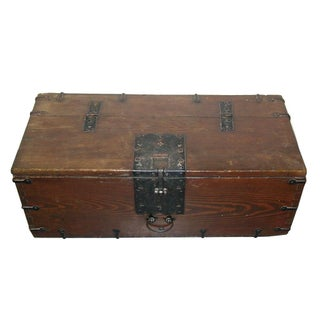 Antique Korean Wooden Trunk With Metal Fittings 19th Century