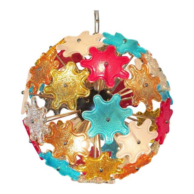 Murano Multicolored Floral Sputnik Chandelier, 1970 - Image 1 of 4