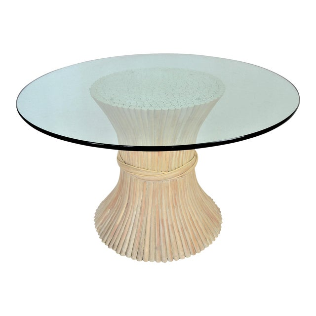 McGuire Wheat Sheaf Bamboo Rattan Dining Table With Thick Round Glass Top Organic Mid Century Modern MCM Millennial - Image 1 of 11
