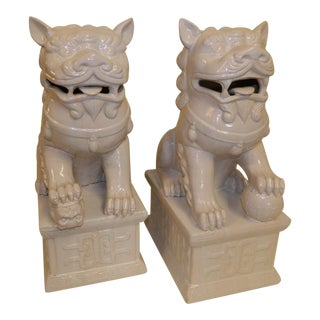 Chinese Foo Dogs in White - A Pair