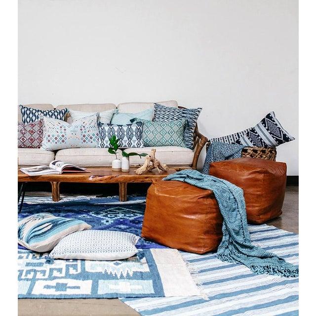 Zigzag Indigo Ikat Handwoven Guatemalan Pillow - Image 6 of 8