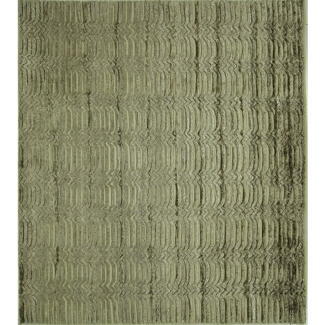 "Wool & Silk Pile Gray Moroccan Rug - 7'4"" x 8'2"" - Image 1 of 10"
