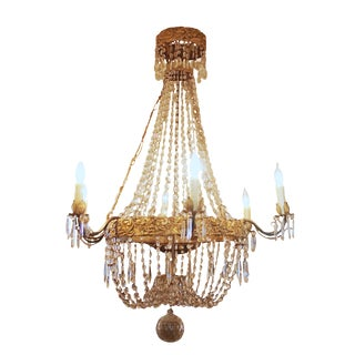 Large, Italian 19th Century Basket Form Crystal Chandelier