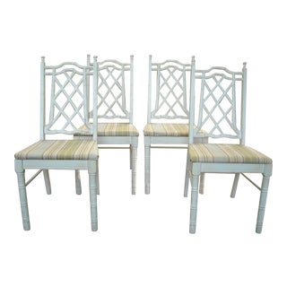 Vintage Faux Bamboo Dining Chairs - Set of 4