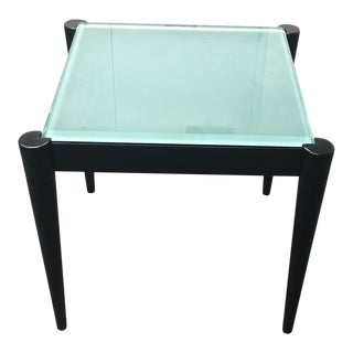 Black Wood & Frosted Glass Side Table