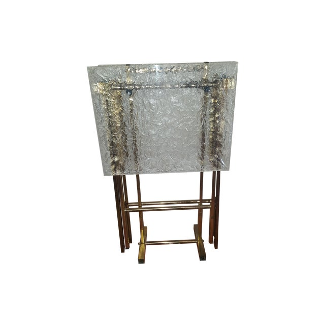 Image of Lucite & Brass Tray Tables & Caddy - Set of 2