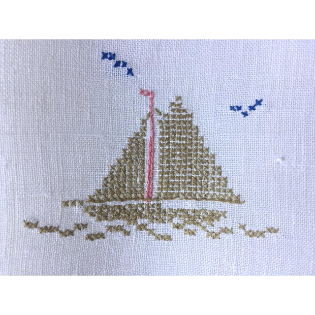 Linen Hand Embroidered Sailboat Guest Towel - Image 3 of 4