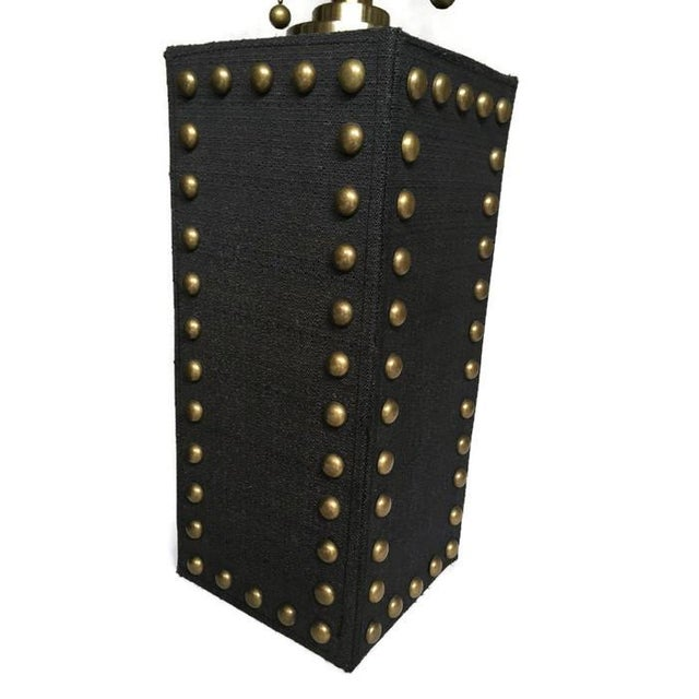 Modern Glam Studded Black & Brass Lamps - Pair - Image 4 of 10