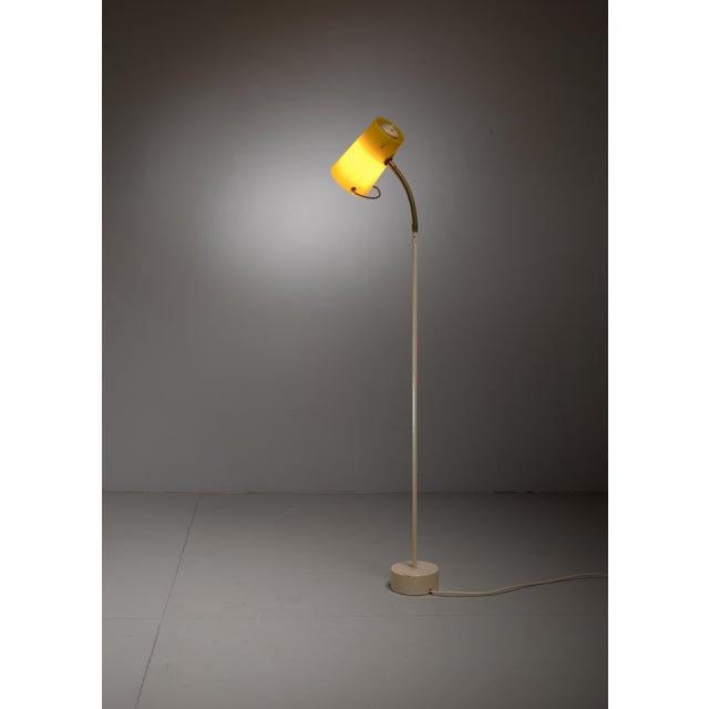 Scandinavian Modern Floor Lamp with Yellow Plexiglass Adjustable Shade, 1950s - Image 4 of 6