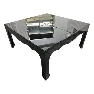 Large Black Beveled Mirror Dining Table