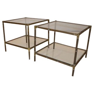 Mid Century Modern Pr of Bamboo Style Brass and Glass Side Tables