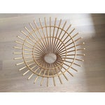 Image of Gold Table Base & Glass Top Dining Table