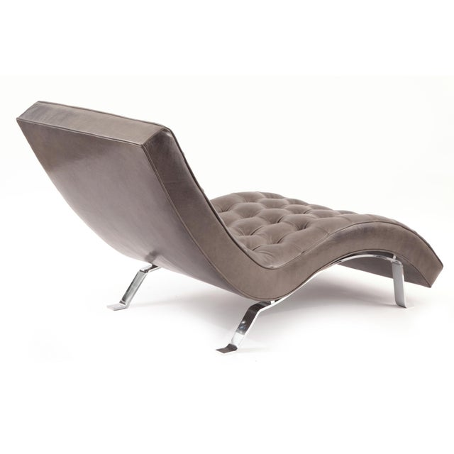 Button tufted gray leather chaise longue chairish for Chaise longue northern ireland