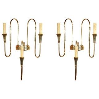 French Art Deco Bronze Candelabra Sconces- A Pair