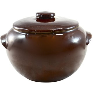 Rustic Farmhouse Stoneware Lidded Bowl