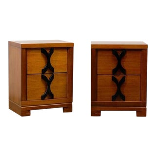 Beautiful Frankl Style End Tables/Night Stands in Ribbon Mahogany