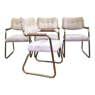 Vintage Brass Dining or Side Chairs - Set of 4