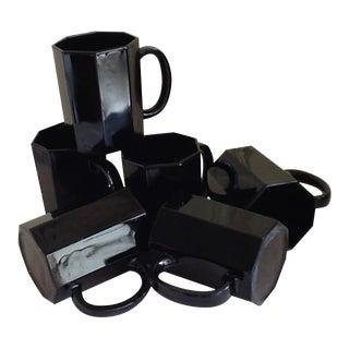 Ebony Ceramic French Mugs - Set of 6
