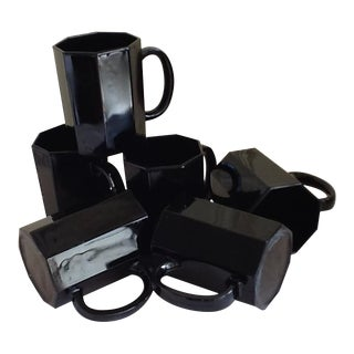 Ebony Ceramic French Mugs - Set of 6