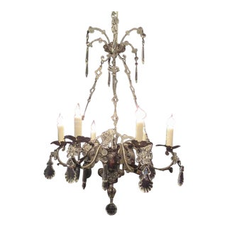 Early 19th C Italian Brass and Silver Plate with Crystal Chandelier