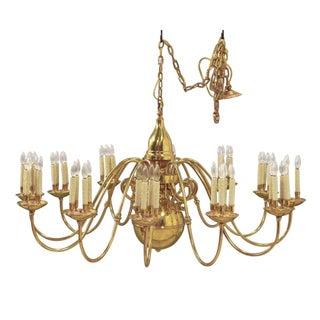 Antique 10-Arm Brass Chandelier