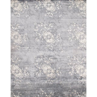 Silver Silk Hand-Knotted Area Rug - 7′10″ × 10′