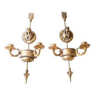 Neoclassical Gilded Wall Hanging Candle Holders - A Pair