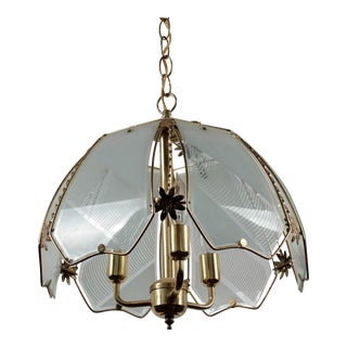 Brass and Frosted Pattern Glass Ceiling Pendant Lamp