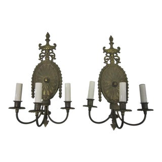 Brass Regency Sconces - A Pair
