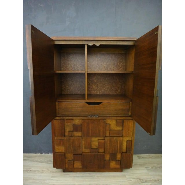 "Mid-Century Lane Brutalist ""Mosaic"" Highboy Bureau - Image 4 of 8"