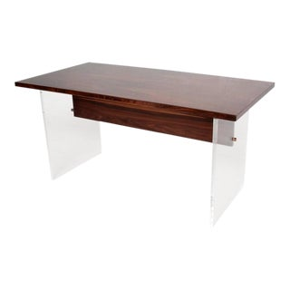 Mid-Century Modern Rosewood and Lucite Table