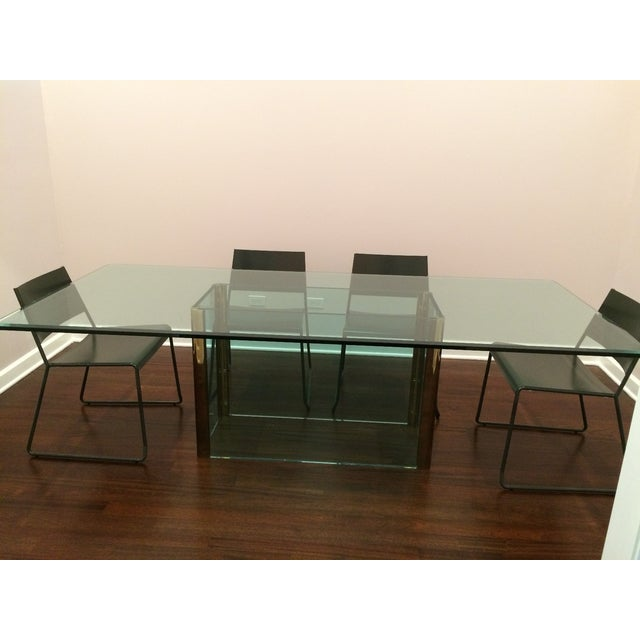 Large Pace Collection Glass & Brass Dining Table - Image 11 of 11