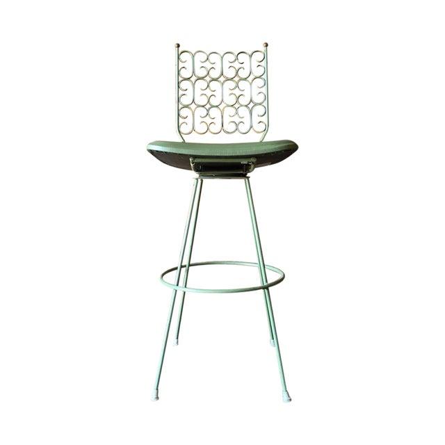 Salterini Painted Wrought Iron Sage Green Barstool - Image 1 of 5