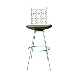 Salterini Painted Wrought Iron Sage Green Barstool